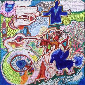 """Blue Horse"" 2005 Andrews, Alpha. ink on poster board. 17"" x 17"" $300"