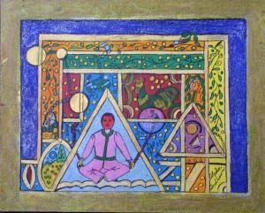 """Levitation"" 1-5-05 Andrews, Alpha. ink on canvas board. 16"" x 20"" $300u"
