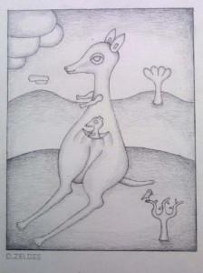 """Kangaroo"" c. 1985 by David Zeldis 8"" x 6"" graphite on paper in grey frame, 8 ply white mat $7500 #9102"