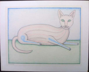 """""""Cat"""" dated 1981 by David Zeldis 9"""" x 11"""" colored pencil on paper in grey frame, 8 ply white mat $7000 #9130"""