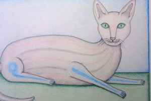 "detail ""Cat"" dated 1981  by David Zeldis  9"" x 11""   colored pencil on paper in grey frame, 8 ply white mat  $7000  #9130"