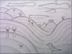 """""""Landscape"""" by David Zeldis 6"""" x 8.75"""" graphite on paper in silver frame 8 ply mat $2750 (9132)"""