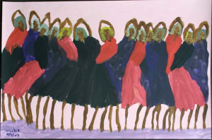 """""""Recital"""" dated 2007 by Woodie Long acrylic on paper  23"""" x 35"""" in white 8 ply mat with wide black frame $1950 #9419"""