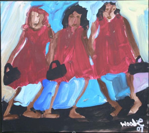 """""""Three Girls and Purses"""" acrylic on paper in black frame 11"""" x 12.25"""" $560 (9434)"""