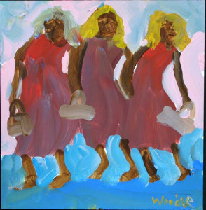 """""""Three Girls and Purses"""" acrylic on paper in black frame 10.75"""" x 10.5"""" $470 (9453)"""
