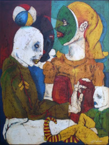 """""""Plato's Family"""" c. 2001 by Michael Banks, mixed media, tar and acrylic on canvas wrap with painted sides, 48"""" x 36""""x 1.5"""" $4000"""