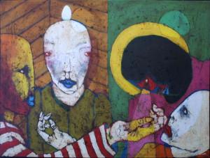"""The Mystery"", mixed media and acrylic on canvas, 36″ x 48″   $4000 (9558)"