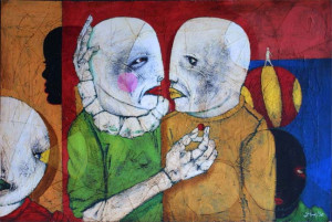 """""""Mars and Saturn's-- Vows"""" by Michael Banks 32.5"""" x 48""""  mixed media on wood in black shadowbox frame   $2500"""