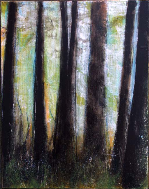 """""""For Rest #1""""  by Anne Buffum   acrylic and pencil on masonite  14"""" x 11""""  in black shadowbox frame $350  #9646"""
