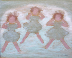 """Three Little Girls"" c. 1966  by Sybil Gibson  tempera on paper  17.75"" x 22"" in custom framing 8 ply mat, museum glass  Was $3750  On Sale Now $2700"