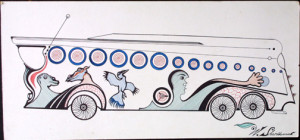 """Bus For All Creatures and Peoples"" by Welmon Sharlhorne  ink on matboard  14.5"" x 30.5"" image  framed in archival white mat, black frame  $750  #9916"