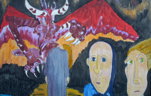 """""""Don't Look Back"""" 2000 by Hope Atkinson  acrylic paint on board  24"""" x 15.75""""  $800   #5099"""