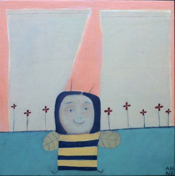 """""""It's the Bees Knees""""  by Anne Buffum  mixed media on wood panel coonstruction 18"""" x 18"""" x 1""""   $330   #11080"""