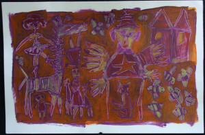 """""""Bee Fair"""" by Renne Ensley acrylic paint on paper  10"""" x 15""""  unframed  $550   #11095"""