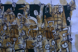 """detail """"Race to the Head of the Class"""" by Renne Ensley  ink, tea bag stain, acrylic paint on paper  18"""" x 24""""    $1150   #11097"""