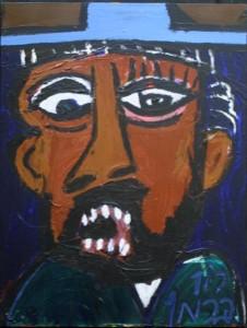 """Hasid Man with Blue Hat"" verso ""Big Booda""by Ron Burman, acrylic on .5"" wood, 24"" 18.25"" unframed, $1000 #11116"