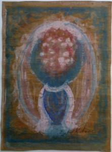 """""""Floral in Blue Vase"""" by Sybil Gibson  acrylic on paper 15.25"""" x 11.5"""" in gold metal frame $1450 #11118"""