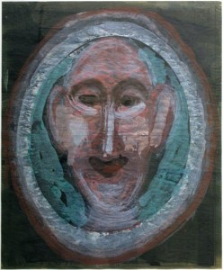 """framed """"Portrait of a Man"""" by Sybil Gibson 27.5"""" x 22.5"""" floated in aqua frame 32.5"""" x 26.75"""" $1200 #11120"""