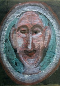 "detail ""Portrait of a Man"" by Sybil Gibson  27.5"" x 22.5""  floated in aqua frame 32.5"" x 26.75"" $1200"