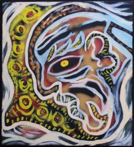 """""""Peter"""" c. 1991 by Calvin Livingston acrylic on wood 23"""" x 26"""" $900 #11128"""