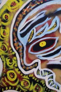 """detail """"Peter"""" c. 1991 by Calvin Livingston  acrylic on wood   23"""" x 26"""" $900    #11128"""