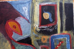 """detail """"Faces Coming Out of the Door""""  by Charlie Lucas  acrylic on thin wood panel  20.25"""" x 23.5""""  irr   $2500    #11133"""