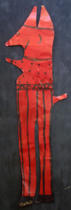 """""""Red Devil"""", acrylic on tin cut out, 45"""" x 15"""",unframed, $500(11134)"""