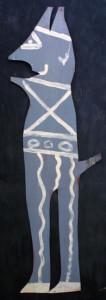 """Devil"" grey cutout, acrylic on tin cut out, 45"" x 16"",unframed, $500(11135)"