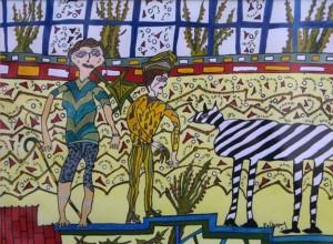 "Untitled- Zebra  1992 by Melissa Polhamus  8.5"" x 11.5""  $750   #11138"