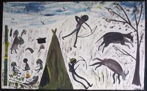 """Australian Indian Tribe World"", acrylic on wood, 30"" x 48"", $1450 (11143)"