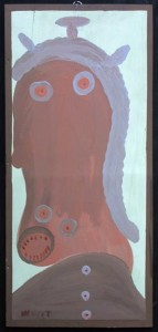 """Self-Portrait  (fierce)""  c. 1981  by Mose Tolliver   house paint on wood panel  28.5"" x 13""  $4500    #11161"