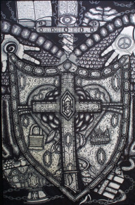 """""""Protection"""" by William """"Sezah"""", permanent ink on heavy paper, 32"""" x 23.5"""" unframed, $800 u (11171)"""