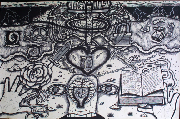 """Forgiveness"" by William Sezah  permanent ink on  heavy paper  36"" x 23.5""  $375 unframed  #11172"