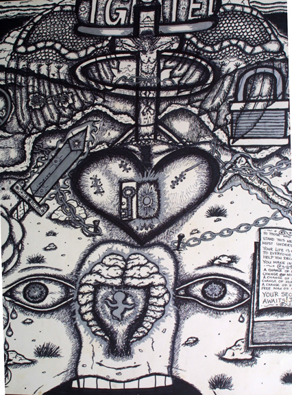 "detail  ""Forgiveness"" by William Sezah  permanent ink on  heavy paper  36"" x 23.5""  $375 unframed  #11172"