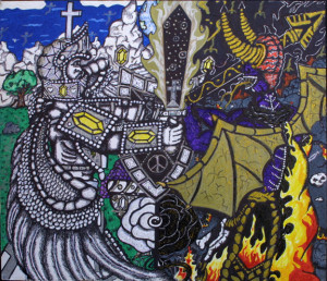 """""""The Fight"""" by William """"Sezah"""",23.5"""" x 11.5"""", color permanent ink on matboard, 17"""" x 19.5""""unframed, $1700 u (11175)"""