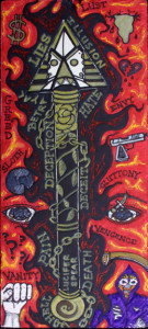 """Spear of Destiny"" by William ""Sezah"", permanent ink on mat board, 18"" x 8"" Framed in white mat, black frame $375 #11177"