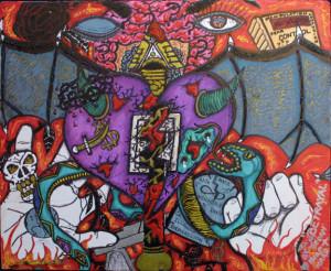 """Betrayal"" by William ""Sezah"", permanent ink on matboard, 14"" x 17""unframed, $350 u (11178)"
