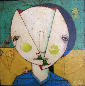 """""""Unchanged""""  by Michael Banks  mixed media on wood  24"""" x 24"""" in black floater shadowbox frame  $1200      #9541"""