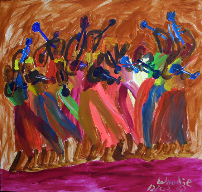 """""""Musicians"""" dated 12/03 by Woodie Long acrylic on paper 21"""" x 23.25"""" unframed $1400 #11227"""