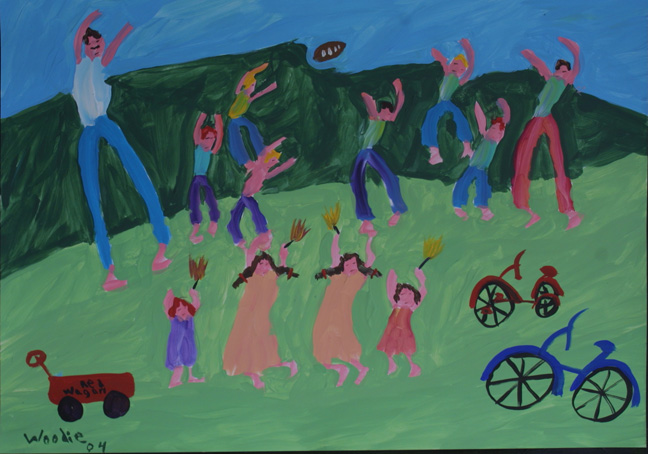 """Family Playing""  dated 2004  by Woodie Long  acrylic on paper  20.5"" x 29.5""  unframed $1000  #11228"