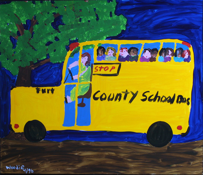 """School Bus""  dated 1996   by Woodie Long  acrylic on paper   18"" x 32""  unframed  $1800  #11230"