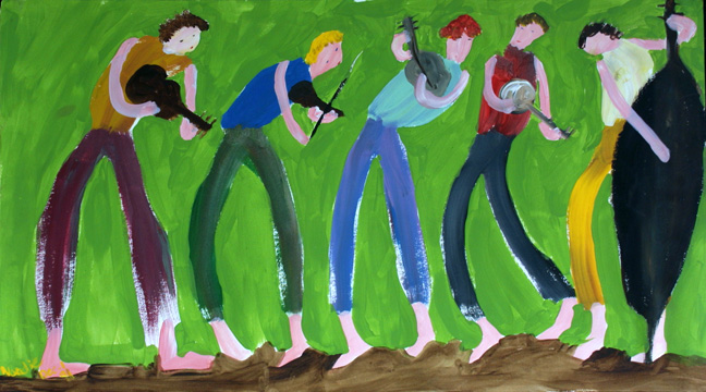 """Musicians""  by Woodie Long  acrylic on paper  18"" x 32""  unframed  $1800  #11231"