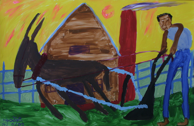 """Plowing"" dated 2003 by Woodie Long  acrylic on paper  23"" x 35""  unframed  $5800  #11235"