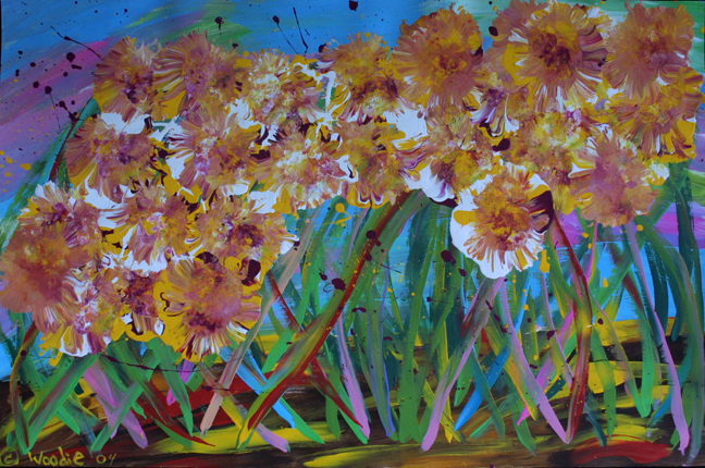 """Floral""  by Woodie Long  dated '04   acrylic on paper 23"" x 35"" in wide black frame with 8 ply white mat,  $3400  #11237"