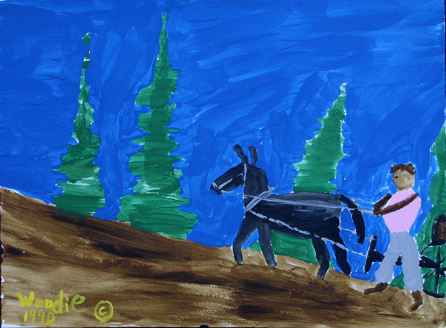 """Up Hill Haul- Mule Series"" dated 1990 by Woodie Long acrylic on paper in archival white mat, black frame $325 #11239"