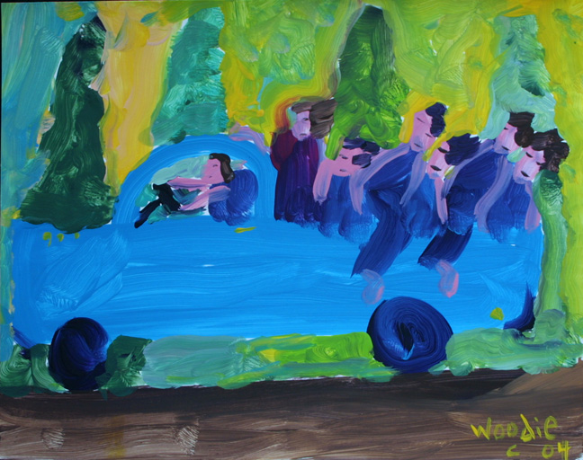 """""""Riding in the Blue Truck""""  dated 2004  by Woodie Long  acrylic on paper 9.5"""" x 12""""  in archival white mat with black frame  $335  #11244"""