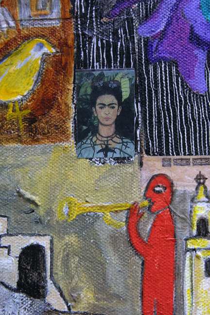 "detail ""The Band"" by Erika Marquardt  mixed media and collage on canvas wrap  12"" x 9"" x 1.5""  $300  (11252)"