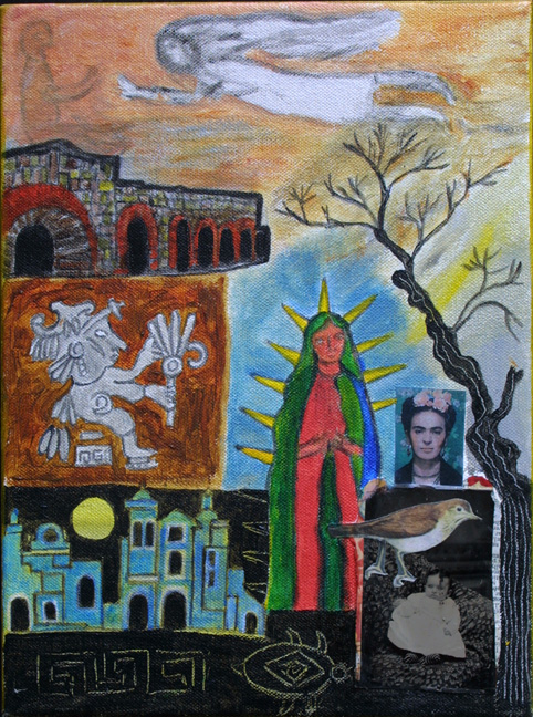 """Madonnas"" by Erika Marquardt  mixed media and collage on canvas wrap  12"" x 9"" x 1.5""  $300  (11253)"