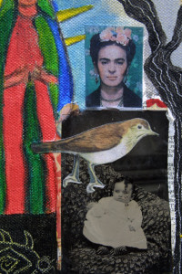 """detail """"Madonnas"""" by Erika Marquardt  mixed media and collage on canvas wrap  12"""" x 9"""" x 1.5""""  $300  (11253)"""