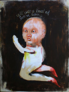 """""""All Over a Bowl of Bitter Beans"""" acrylic and graphite on wood 36"""" x 27"""" x .75"""" in black shadowbox $2400 #11273"""